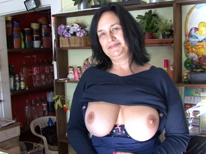 F-Sized tits mature gets fucked in her flower store