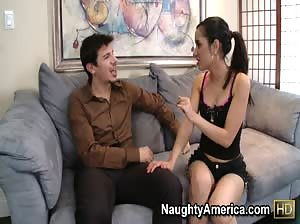Tia Cyrus rolls her tongue on some hard cock while teaching Spanish.