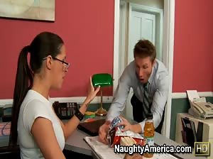 Kortney Kane enjoys her lunch break at work by having her co-worker lick her pussy