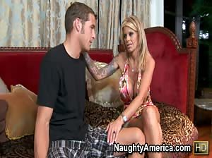 Olivia convinces Chris Johnson to babysit for her by sucking his cock and fucking his brains out.