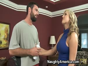 Sultry blonde Dayna Vendetta takes a deep pounding and a hot load on her round ass.
