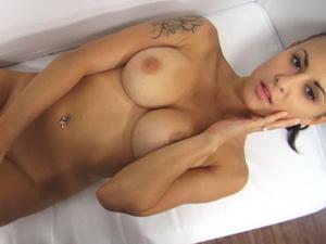 Stunning big tits brunette casting