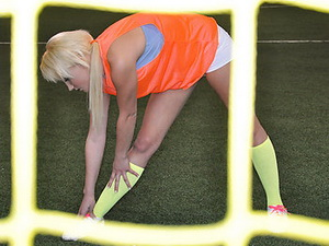 Blonde soccer player with sexy legs and a fat ass
