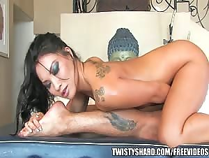 Sexy brunette Asian gives an amazing nuru massage