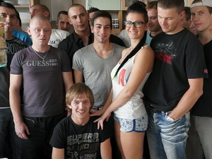 Busty Czech girl enjoys her first gangbang