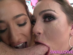 Kinky Abigail and Eva Lovia deepthroating fat pole