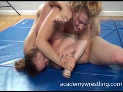 savvy veteran Girls Fight for Erotic Pleasure on Academy wrestling